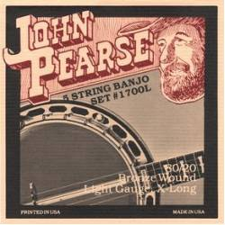 John Pearse 1700L Banjo 5 Guitar Strings Set 09-09 80/20 Bronze